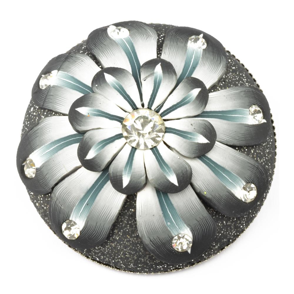 Botón flor fantasía gris medio