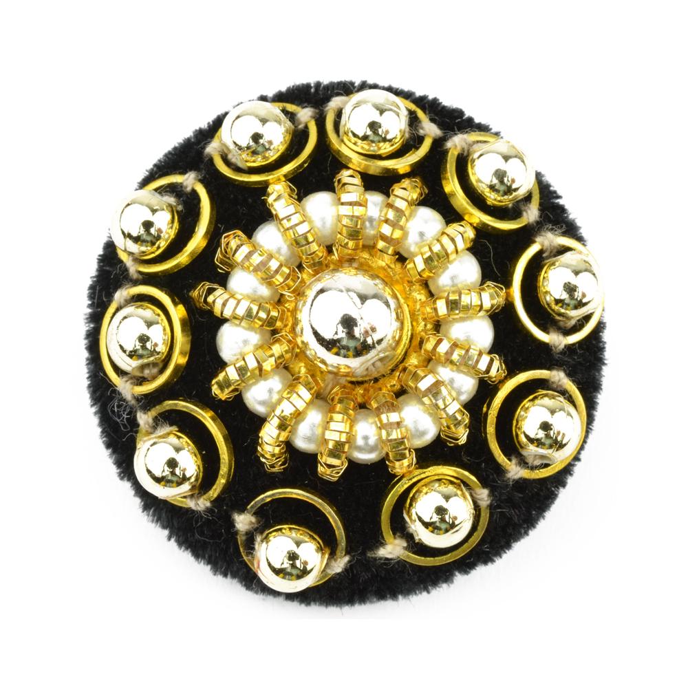 Botón oro y perla 40 mm oro