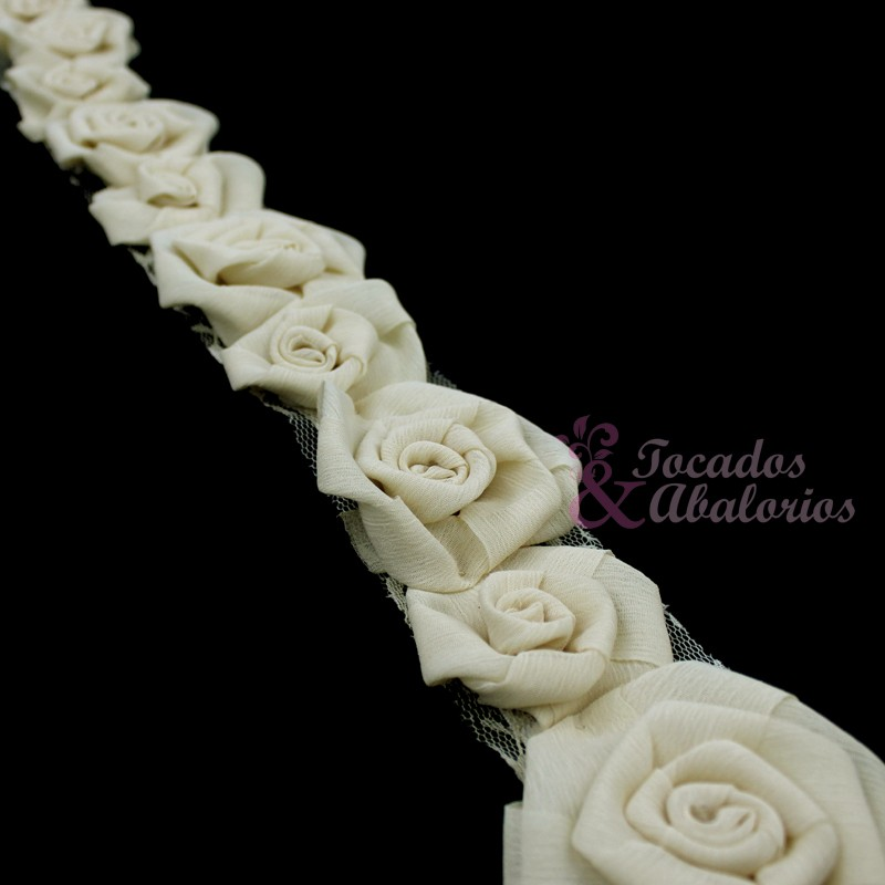 Tira Flores Organza 7 Cm ancho