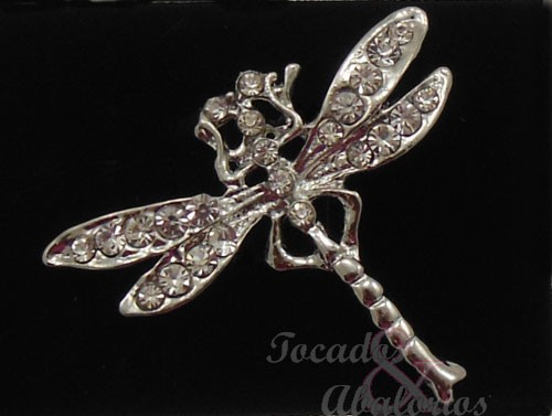 Broche libélula metal-strass 5X2 CM