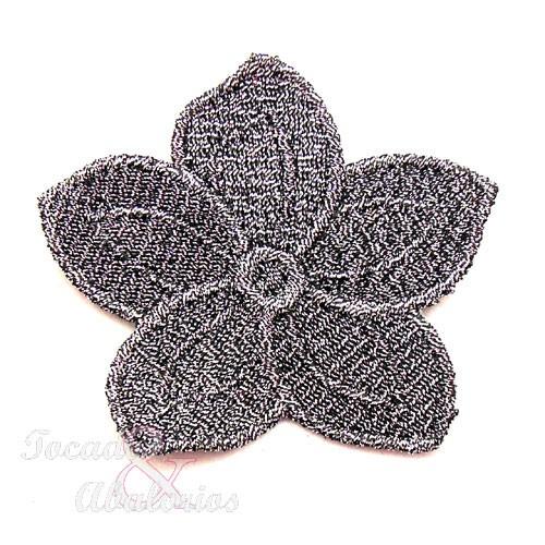 Aplique flor metalizada 6.5 CM