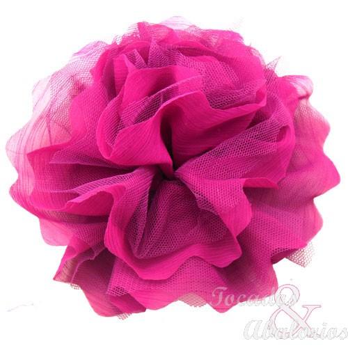 Flor tul y organza 18 cm