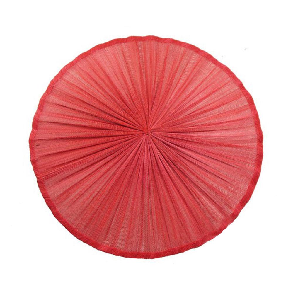 Base Sinamay seda plisada 20 cm rojo