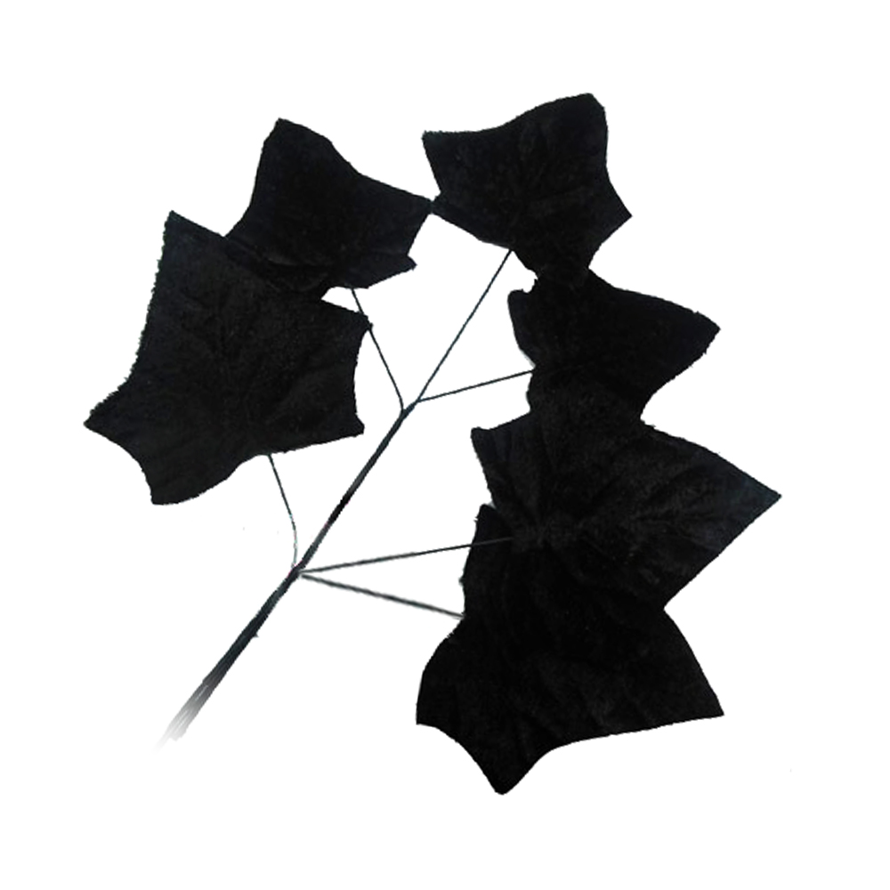 Ramillete 6 Hojas terciopelo 17 CM negro
