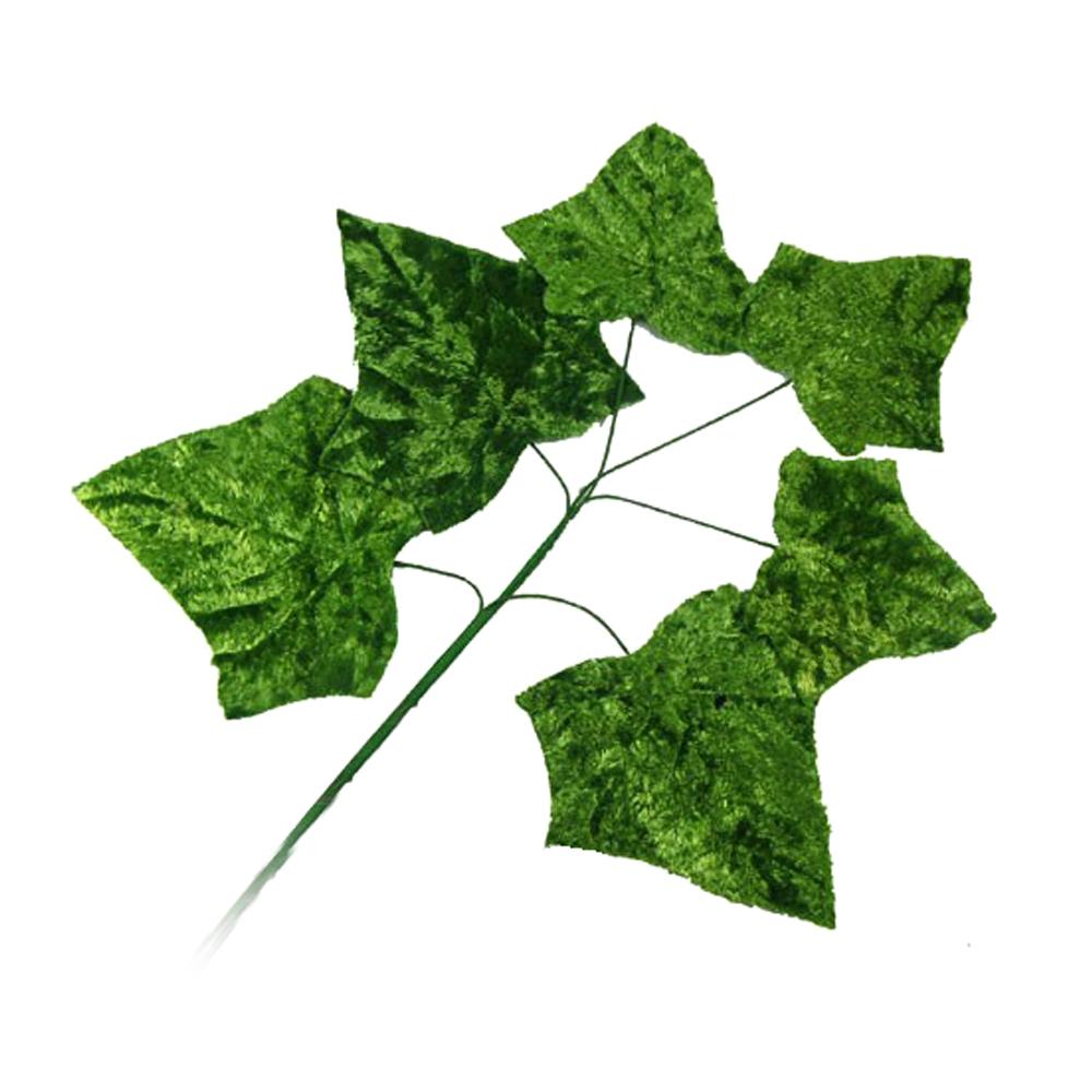 Ramillete 6 Hojas terciopelo 17 cm verde
