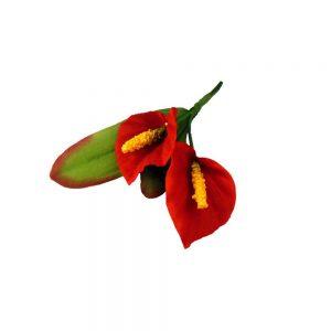 Doble Lirios 12×8 cm rojo