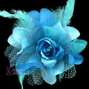 Flor de organza y pluma