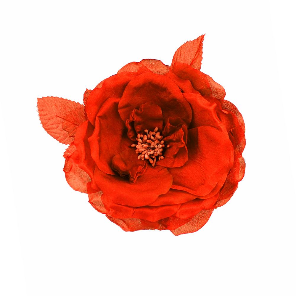 Flor Lady de seda rojo
