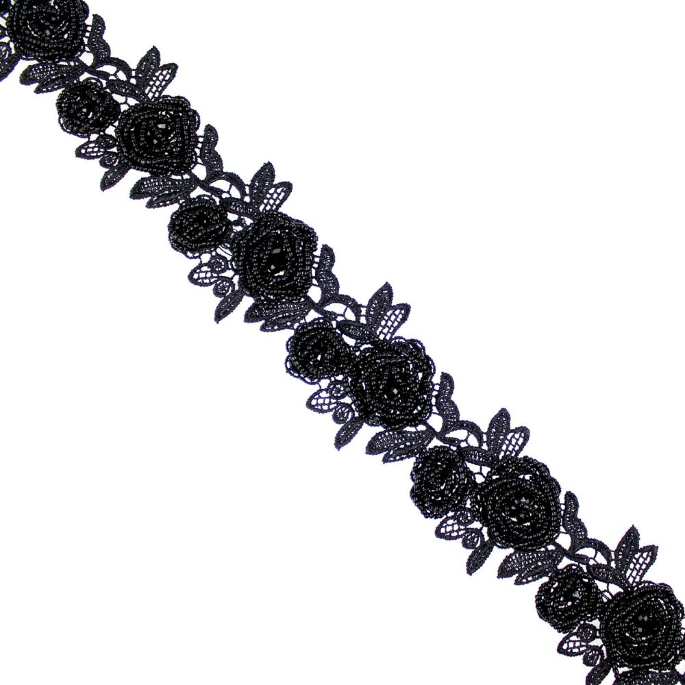 tira flores guipur y rocalla negro