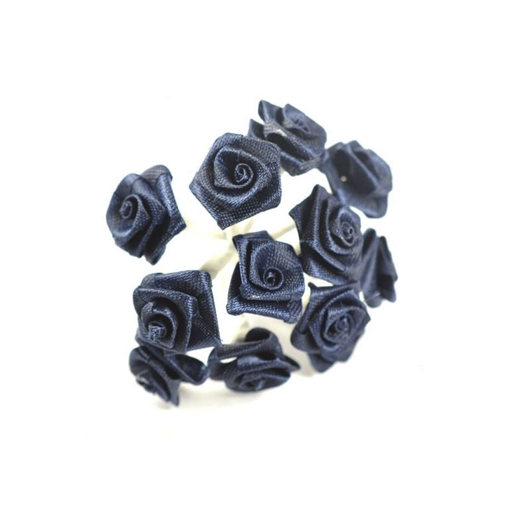 mini rosas de tela azul marino