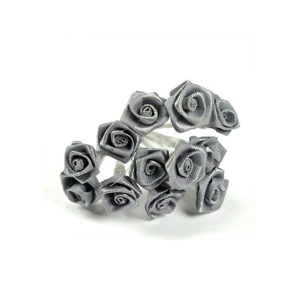 mini rosas de tela gris