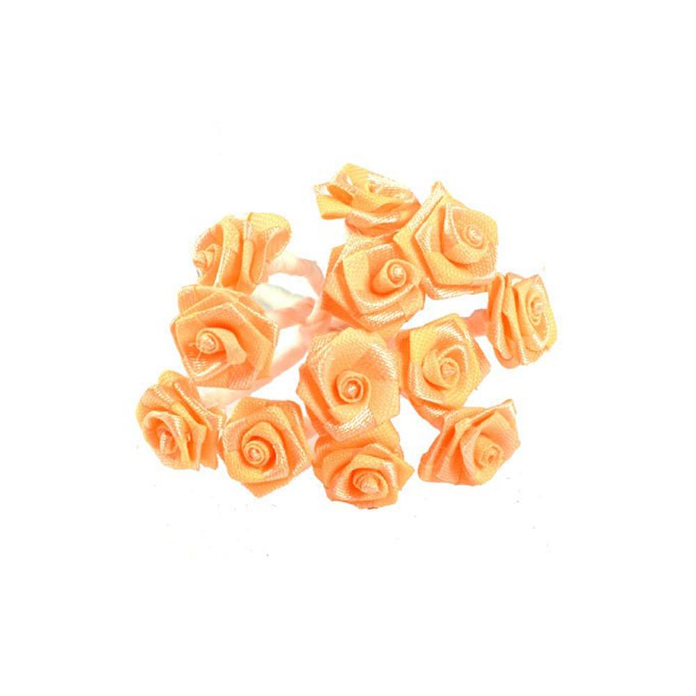 mini rosas de tela naranja