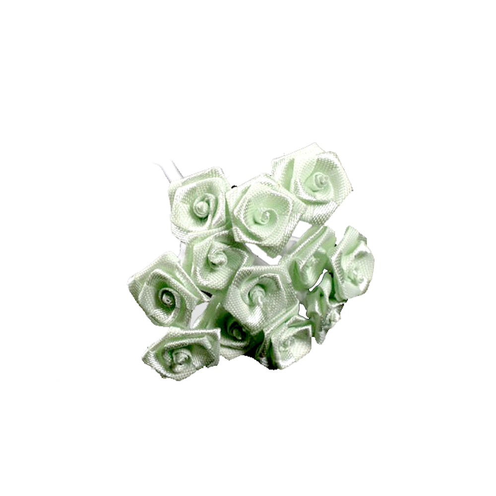 mini rosas de tela verde menta