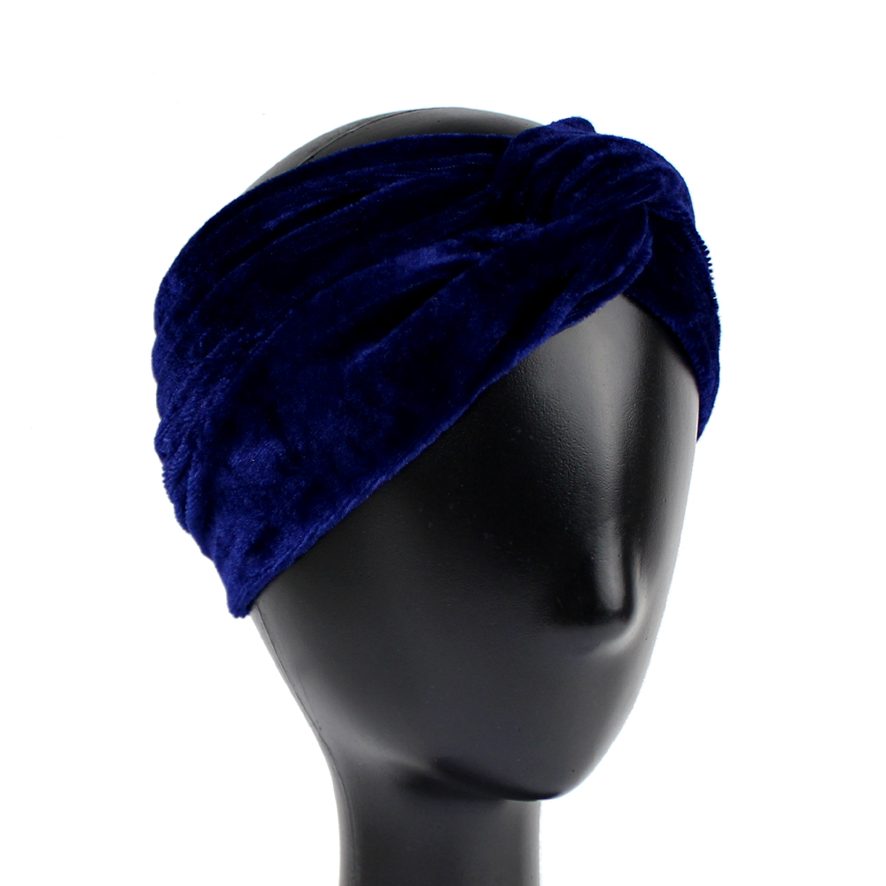 Turbante de terciopelo abierto azul marino
