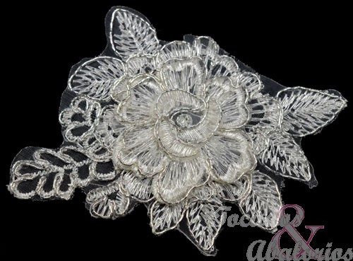 Aplicacion flor lamé 10x8.5 cm