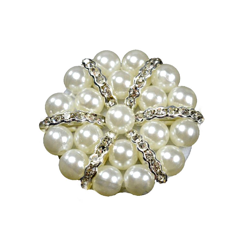 Aplicación circular de perlas blanco