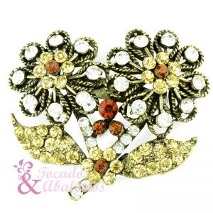 Broche Flor doble strass