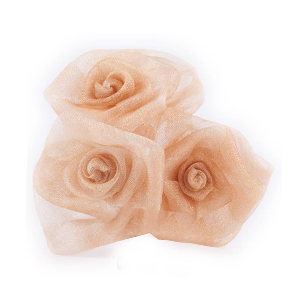 Ramillete 3 rosas organdí beige