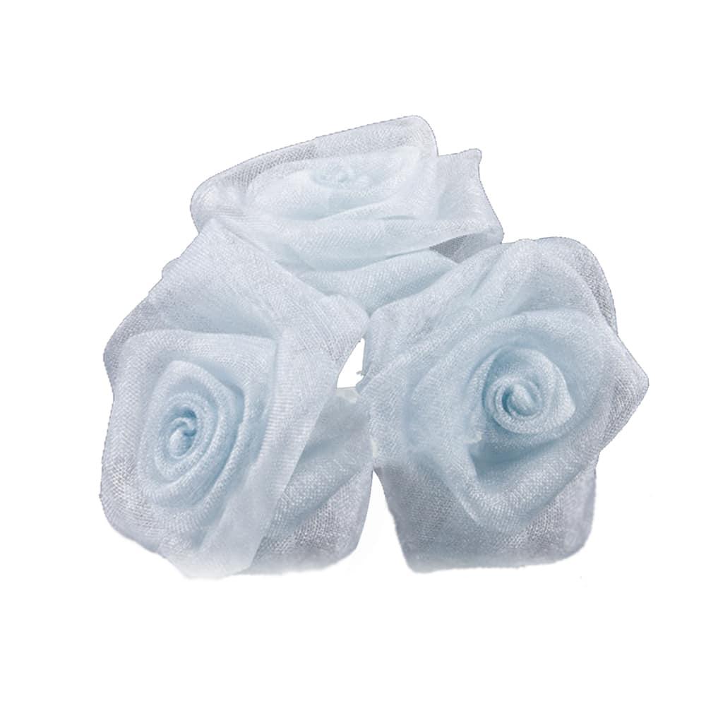 Ramillete 3 rosas organdí gris medio