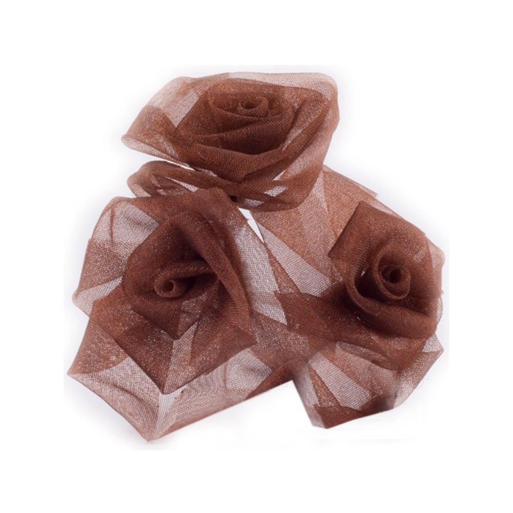 Ramillete 3 rosas organdí marrón