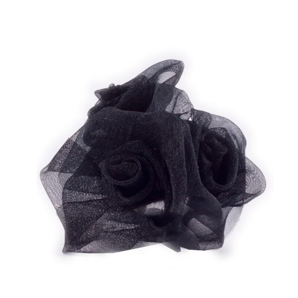 Ramillete 3 rosas organdí negro