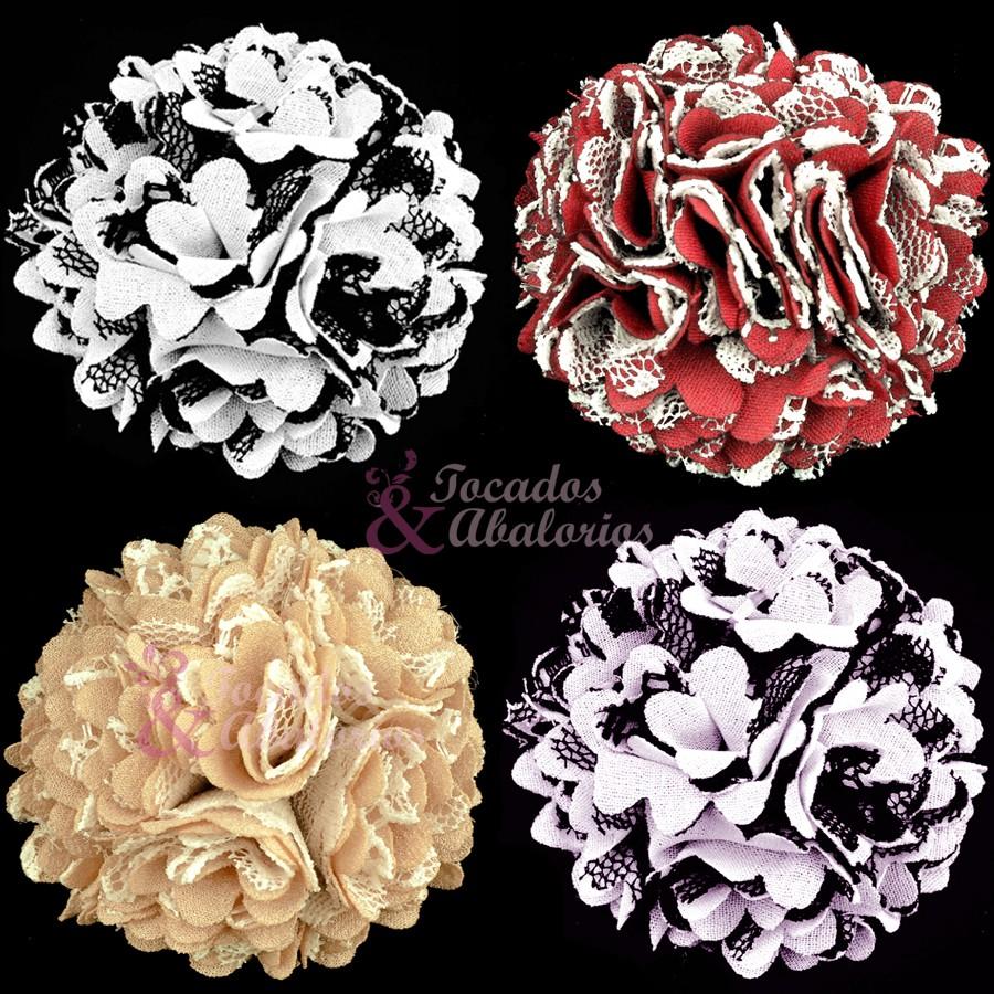 Flor clavel tela/encaje 6 cm.