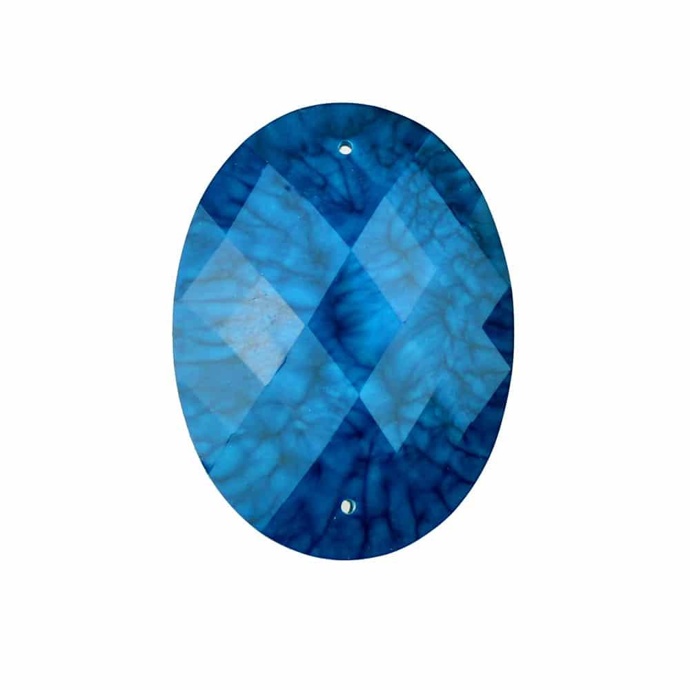 Aplicación oval marmoleada 30×40 mm azul azafata