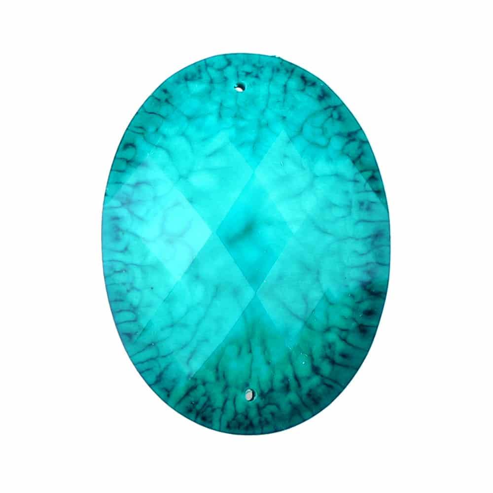 Aplicación oval marmoleada 30×40 mm turquesa