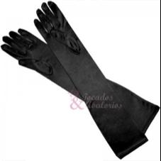 guantes en raso negro