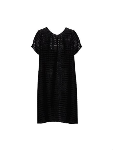 vestido de franjas negro