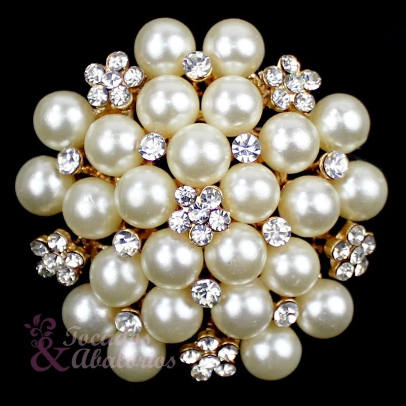 Broche mora perlas