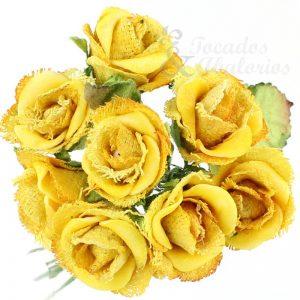 Ramillete 8 rosas papel yute