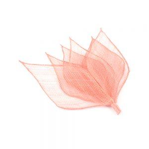 6 hojas sinamay 16×6 cm coral