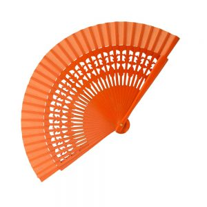 Abanico Madera Labrada 20 cm naranja