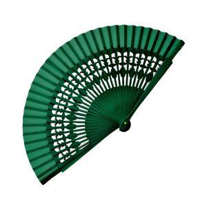 Abanico Madera Labrada 20 cm verde