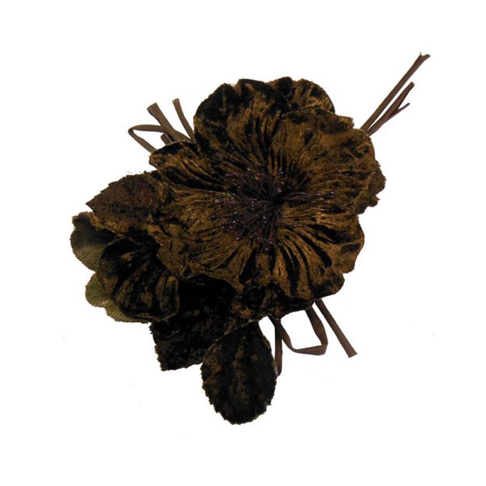 Amapola de terciopelo 17×12 cm marrón chocolate