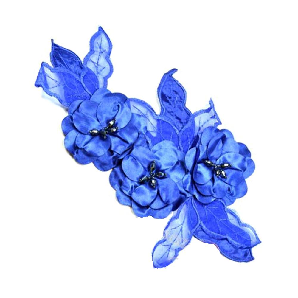 Aplicación Triple flor XL azul klein