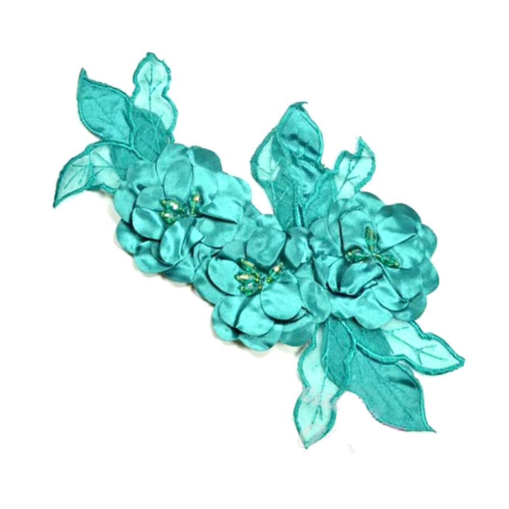 Aplicación Triple flor XL verde jade