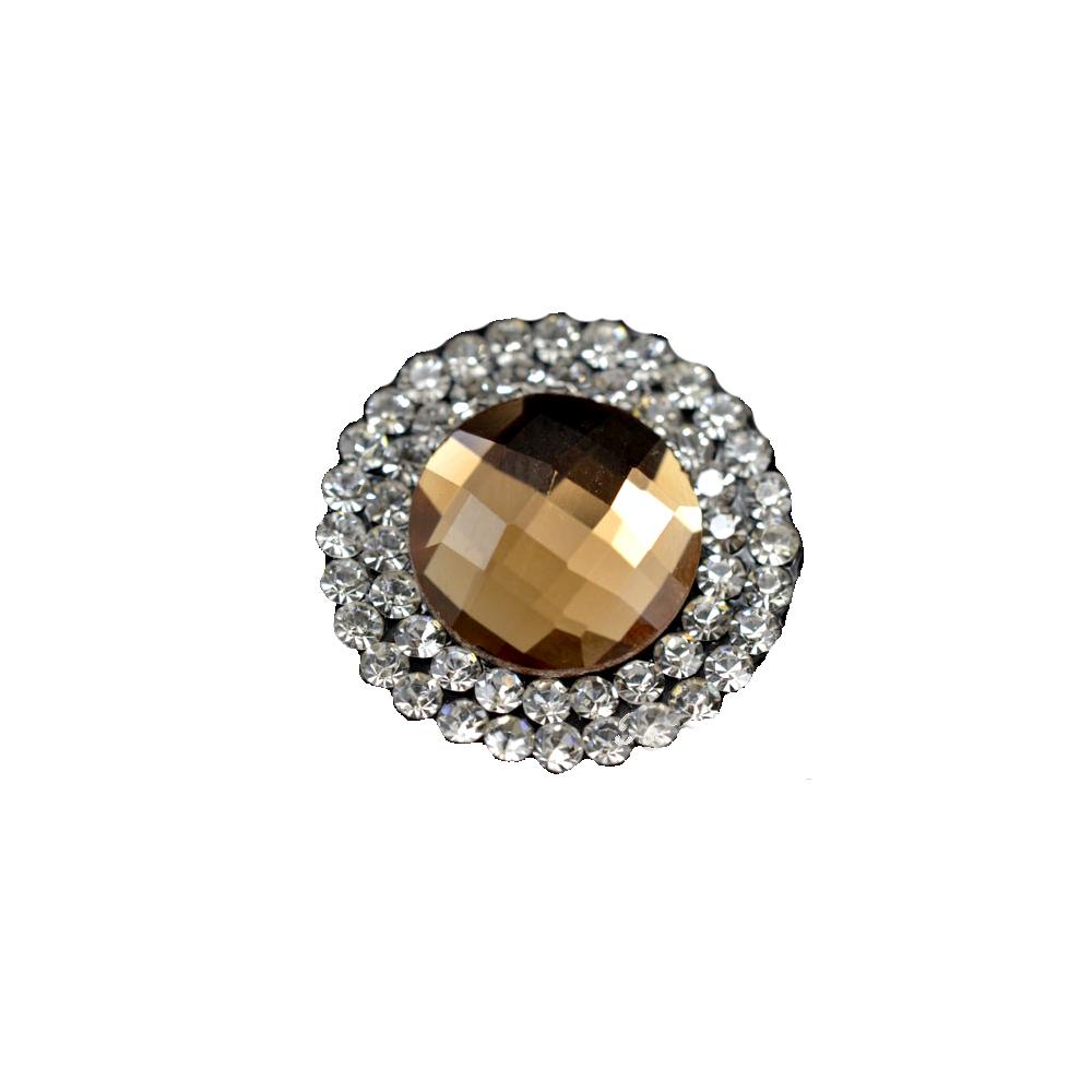 Aplicación circular de cristal 2 ud marrón