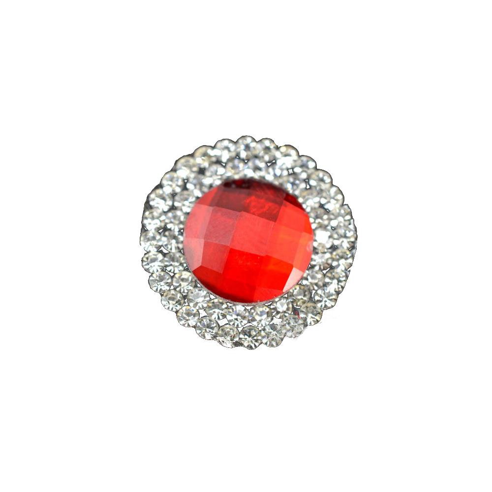 Aplicación circular de cristal 2 ud rojo
