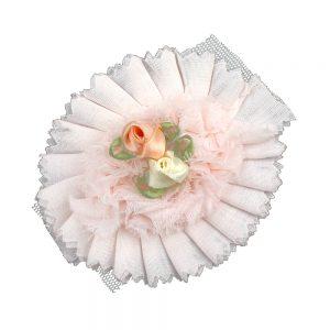 Aplicación circular flores 7 cm rosa palo