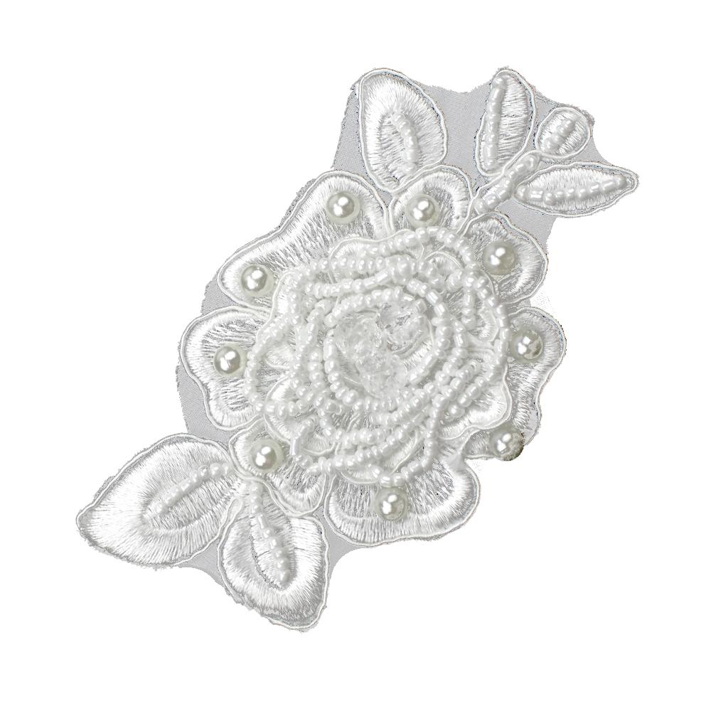 Aplicación flor perla rocalla blanco