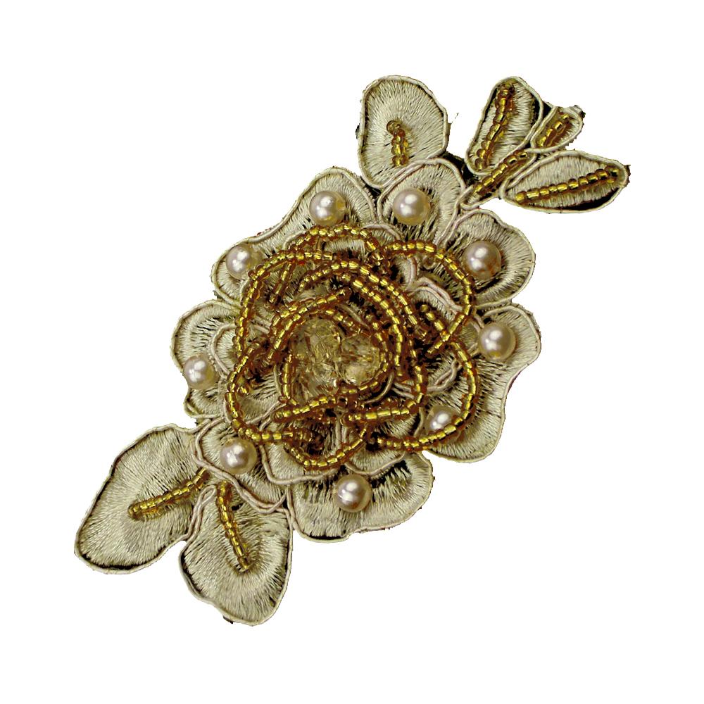 Aplicación flor perla rocalla oro
