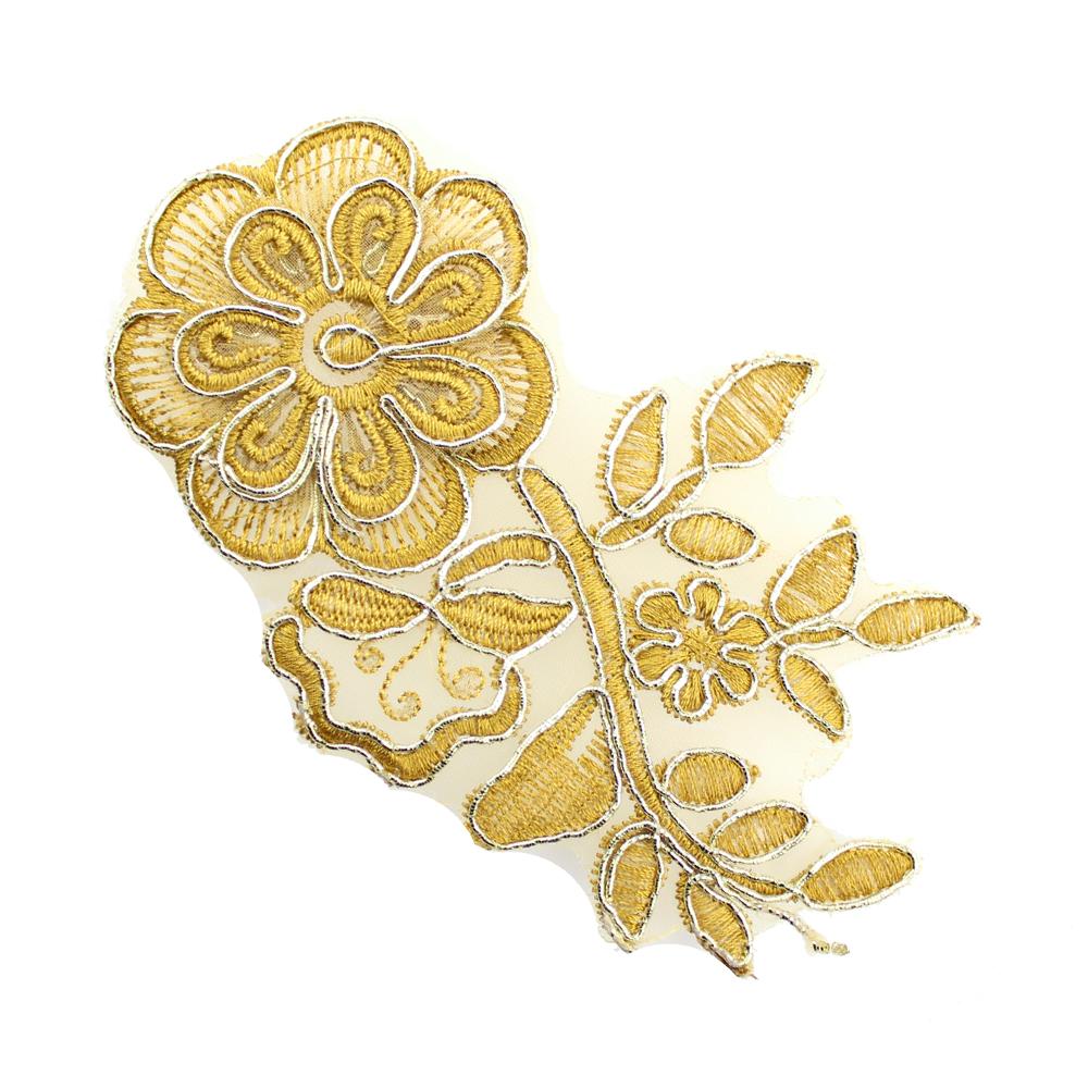 Aplicación lamé bordada flor con tallo marrón y oro