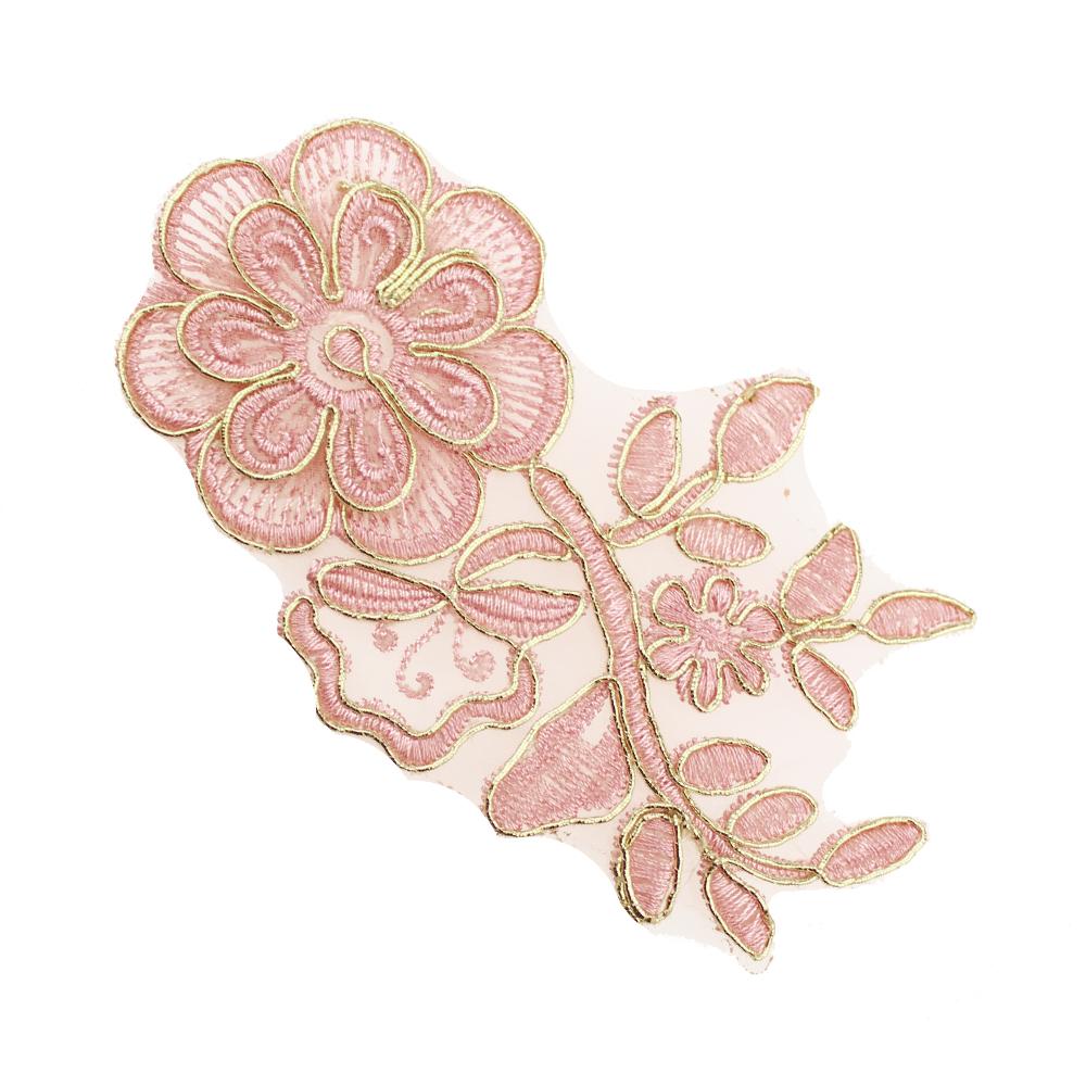 Aplicación lamé bordada flor con tallo oro y rosa