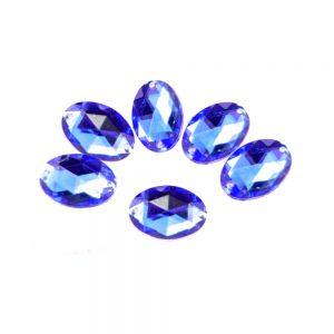Aplicación oval acrílica azul azafata