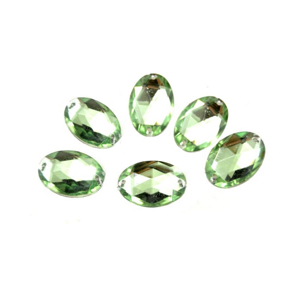 Aplicación oval acrílica verde medio