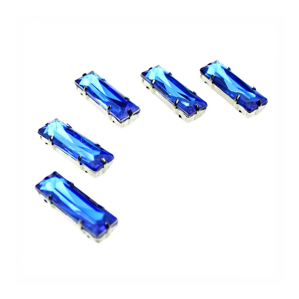 Aplicación rectangular 10×30 mm azul azafata