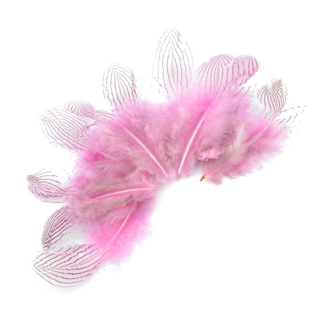 Bolsa Plumas faisán plata 8-10 CM rosa