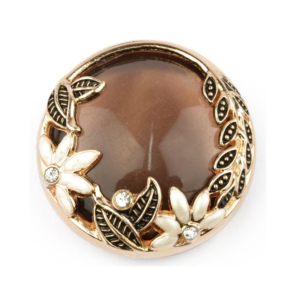 Botón Perlado 4 cm dorado y perla